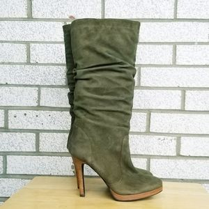 NEW Olive suede boots